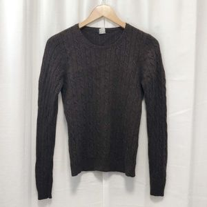 J. Crew dark brown cable knit sweater M